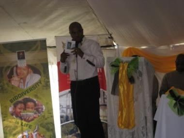 Mongezi Langa delivering an address at the Biodiversity Day event in Coffee Bay