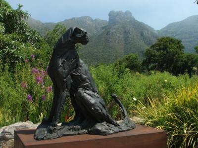 Sculpture (Dylan Lewis, Sitting CheetaH) becomes a feature of the Garden