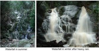 Skeleton waterfall in summer and after rain