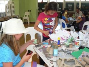 Making beautiful deskholders in the art workshop