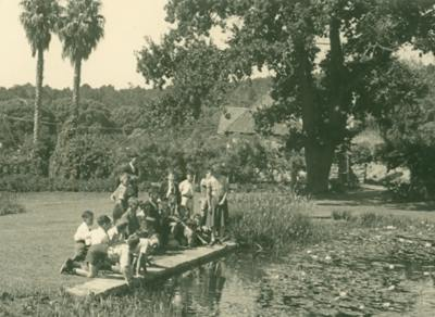Nature Study Class Kirstenbosch 1930 - old curator's house still visible near pond