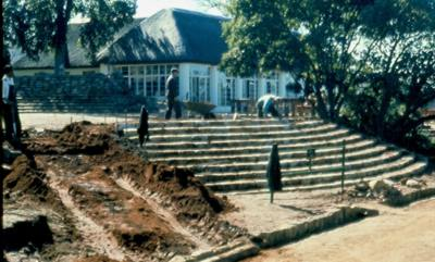 Building stairs at Tea House Jan 1972