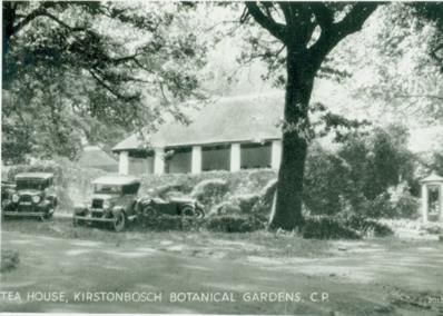 Tea House with cars at Kirstenbosch circa 1925